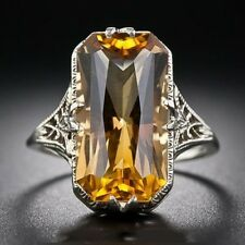 Charm 925 Sliver Ring Natural color Citrine Jewelry Wedding Engagement Size 6-10