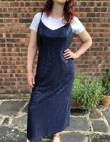 Vintage New Look 90s Sparkly Blue Sequined Maxi Slip Dress UK Size 16 Modern 14