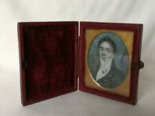 Late C18th Miniature Portrait of Gentleman in Red Leather Case