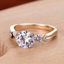 Women Clear White Rhinestone Beads Crystal Two Tone Gold Filled Engagement Ring
