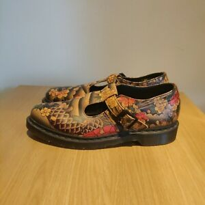 Dr Martens Polley Mary Jane Shoes Tattoo Yellow Japanese Koi Fish 3 Eye UK 9