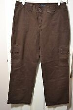 Womens DOCKERS Cargo Pants, 12 x 29, Solid Brown, Cotton, GUC