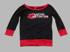 Social Distortion black red lips vintage long sleeve women's juniors shirt L NEW