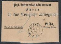 NDP Brief REISEN Posen 1870 Behändigungsschein nach Lissa