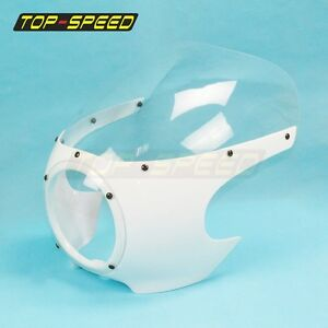 """ABS Plastic DRAG VIPER FAIRING WINDSCREEN Fit 5-3/4"""" Headlight Cafe Racer Style"""