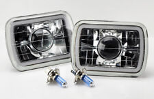 "7x6"" H4 Blue CCFL Halo Clear Projector Glass Headlight Conversion w/ Bulbs Jeep"