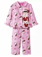 Toddler Girls Elf on the Shelf Christmas 2 Pc Button Up Top Pink Pajama Set 3T