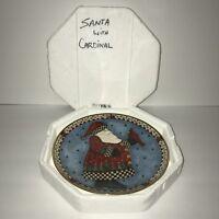 Franklin Mint Royal Doulton A Christmas Greeting Santa Cardinal Plate HA9526