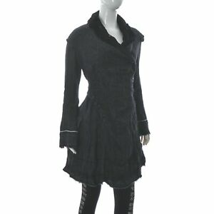 High Use By Claire Campbell Wrap Button Blazer Coat Split Raw Hem Size D-36