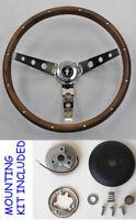 "New! 1964 1/2 Mustang Real Wood Grip Steering Wheel Grant 15"" Chrome Spokes"