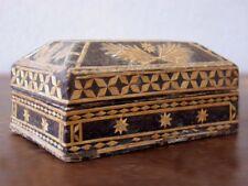 Boite en carton noirci à marqueterie de paille d'époque XIXème