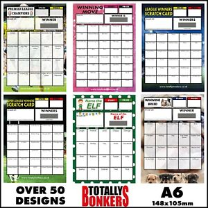 A6 FUNDRAISING SCRATCH CARDS - FOOTBALL - DANCE - RUGBY - DOG - PACKS OF 10