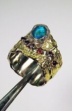 BLUE OPAL & RED GARNET RING sz 7.5 - TWO TONE GOLD-plated 925 STERLING SILVER