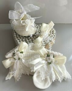 GIRLS-IVORY LACE SOCKS-SHOES-HAIRBAND-CHRISTENING-SPECIAL OCCASION- PEARLS