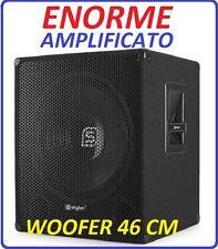 """Subwoofer amplificato sub palco 1000w woofer 18"""" (46 cm) cassa diffusore attiva"""