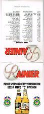 1992 Rainier Beer Table Tent Usssa Mens Slo-Pitch Softball Sponsor Schedule