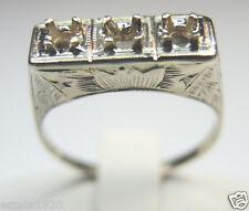 Antique Engagement Setting 14k White Gold Ring Size 7 UK-N1/2 Art Deco Vintage