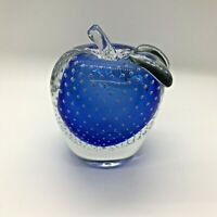 """Bullicante Blue Glass Apple Paperweight Controlled Bubble 4.5"""" tall EUC"""