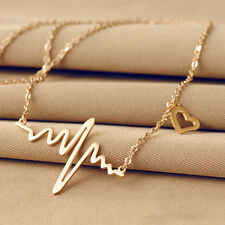 New Fashion Womens Gold Silver Plated Heart Beat Pendant Long Chain Necklace