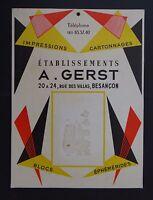 Ancien carton PLV Présentoir GERST BESANCON écriture stylo plume pen crayon nibs