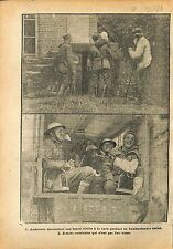 Bataille de Champagne Sammies US Army Cave Red Cross WWI 1918 ILLUSTRATION