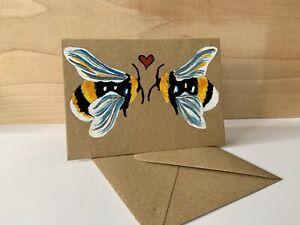 Handmade Bee Card Anniversary, Birthday, Greetings Card, Free Post