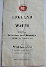 ENGLAND v WALES UEFA YOUTH TOURNAMENT AT ORIENT FC 1970 OFFICIAL PROGRAMME
