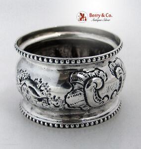 Architecural Napkin Ring Beaded Coin Silver 1860 Monogram MEJ