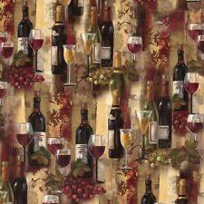 Novelty prints Wine Bottles Splendor 100% cotton fabric by the yard