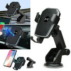 Wireless Fast Charger Car Mount Phone Holder Stand 2 in 1 For iPhone Samsung
