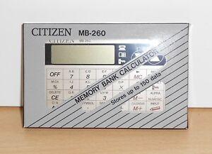 Citizen MB-260 Vintage Solar Pocket Calculator - Calendar - Memory Bank - JAPAN