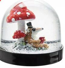 IKEA Vinter 2018 Snow Globe Reading Badger Mushroom Toadstools - NWT