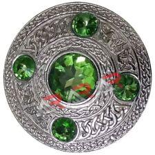 "Ladies Brooch Highland/Scottish AAR Kilt Fly Plaid Parrot Green Stones Size 4"""