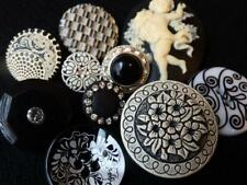 New listing Awesome Lot Vintage & New Black Buttons Flower Cameo Glass Rhinestone +