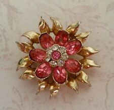 Vintage Signed Coro Pink & Clear Rhinestone Flower Pin sn 1446