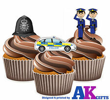 Cartoon Police Helmet Car Birthday Party 12 Cup Cake Toppers Edible Decorations