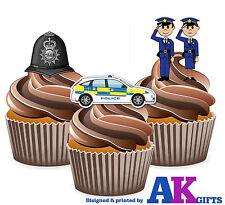PRECUT Cartoon Police Helmet Car Birthday 12 Edible Cupcake Toppers Decorations
