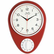 JVD HO365.1 Küchenuhr Wanduhr Küche Quarz analog rot mit Kurzzeitmesser Timer