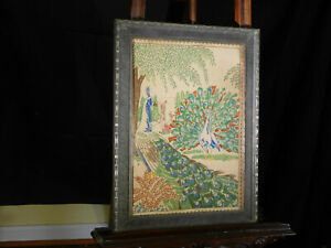 c1900 Arts & Crafts Tapestry Hand Sewn Peacocks Stickley Era Wood Frame