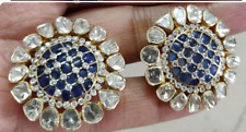 925 Sterling Solid Silver Real Sapphire Gemstone With Polki Diamond Fine Earring