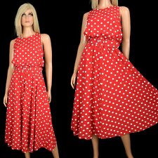 Vintage 80s 90s My Michelle RED POLKA DOT DRESS Pretty Woman Swishy Fluid Skater