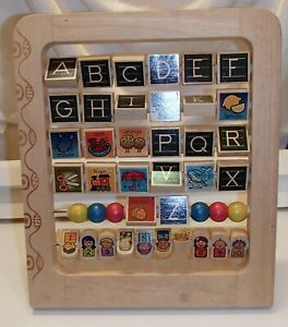 Wooden Alphabet Numbers Board Toddler Toy Learning Game Abacus