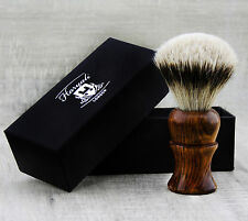 UNISEX Shaving Brush with Sliver Tip Badger Hair in Pure Rose Wood Handle