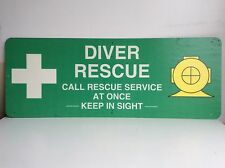 "Large Dive Rescue Sign Fiberglass on Stainless Steel 48"" x 18"" SCUBA"