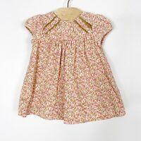 Zara Mini Infant Baby Girl Corduroy Floral Print Dress Pink Cream 3-6 Months