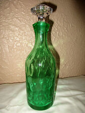 Morgantown Venetian Green Lynward Peacock Optic Decanter Crystal Octagon Stopper