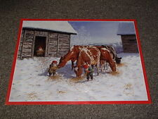 Swedish Christmas Poster Print Tomte Gnome Feeding Cows by J Bergerlind Bo550