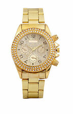 New stylish Diamond stone studded gold Plated steel watch for woman