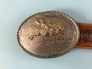 Mens belt and buckle western cowboy theme