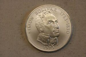 1973 Panama 20 Balboas Simon Bolivar uncirculated Silver